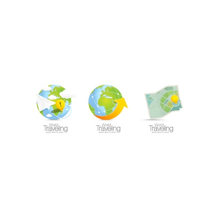 World map icons street Stock Vector - 21599401
