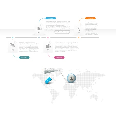 web site design: Business infographic web site design template elements with icons menu