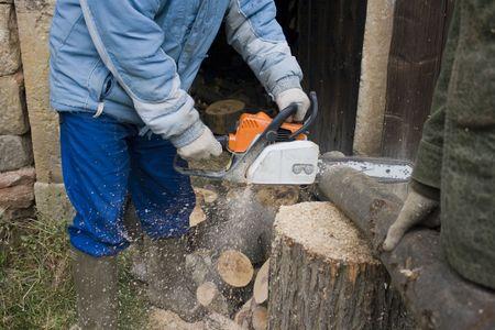 Man cut tree Stock Photo