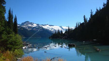 View Garabaldi Lake from Approach Widescreen Stock Photo