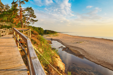 Sunset at the beach Saulkrasti, located near the Latvian capital Riga. The view of the Rigas bay.
