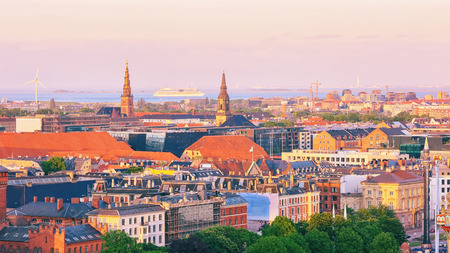 Aeril view of the old town in the danish capital Copenhagen during sunset in the summer