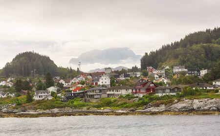 Residential district in the Norwegian town Floroe Reklamní fotografie