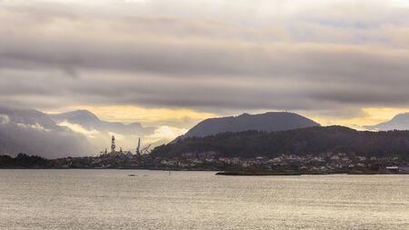 Twilight in the Norwegian town Floroe