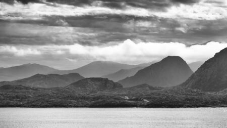 The mountains surround Brufjord in Norway, B&W Reklamní fotografie