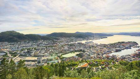 Bergen, Norway 07172019 Aerial view of the Norwegian city Norway