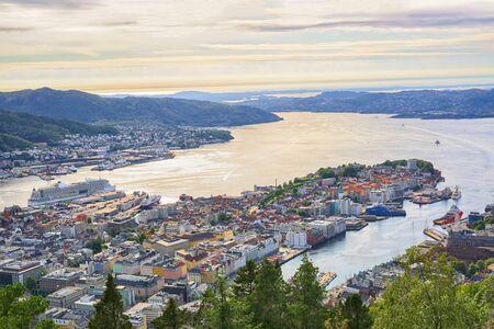 Summser sunset in the Norwegian city Bergen