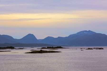 Sunset in the Romsdalsfjord in the town Molde