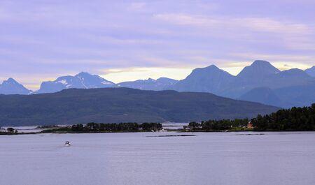 Sunset in the Romsdalsfjord near the town Molde Reklamní fotografie