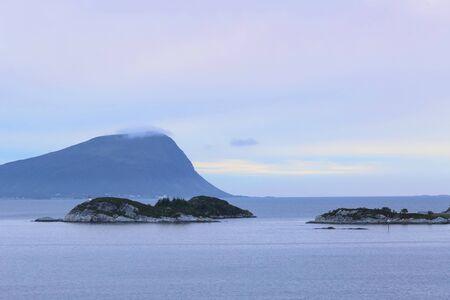 Norwegian coast, sunset in the Romsdalsfjord