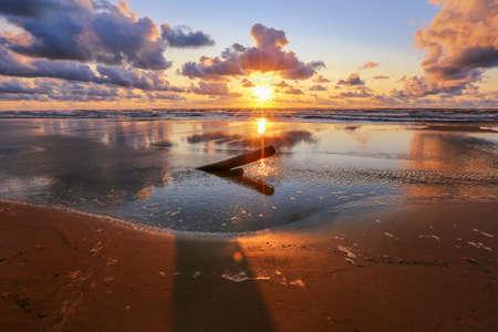 Colorful summer sunset at the beach Saulkrasti, popular touristic place in Latvia Stock Photo