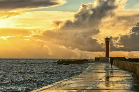 Mangalsala lighthouse located in the Latvian capital Riga in the Rigas bay Stockfoto
