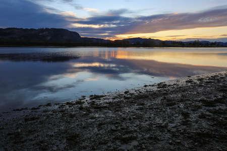 Sunset at the nature preserve Leinoera , Norway