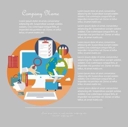 espacio de trabajo: Espacio de trabajo de oficina con elementos empresariales y elementos Vectores