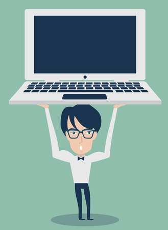 Businessman holding laptop Vector