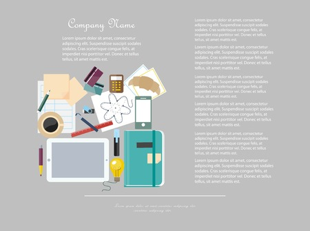 workspace: Office workspace with business items and elements Illustration