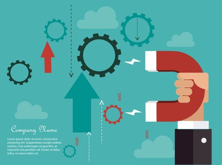 magnetismo: La dinámica empresarial concepto Vectores