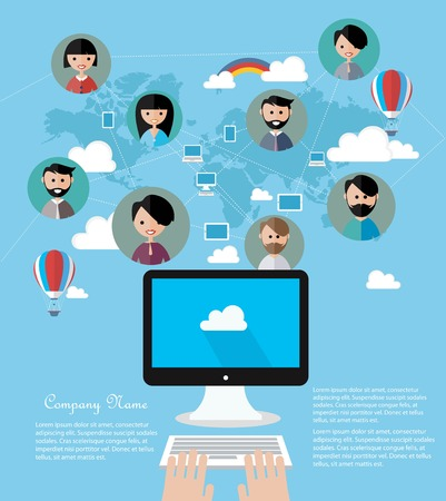 asian business team: Social network concept Illustration