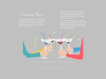 Group of people toasting with drinks Vector