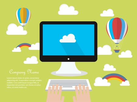 hands on keyboard: Cloud computing concept Illustration
