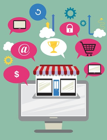 via: Buying product via online shop. E-commerce concept