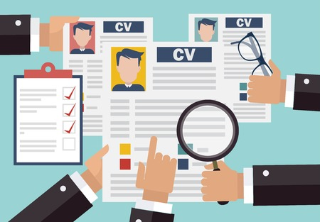 Job interview concept with business cv resume