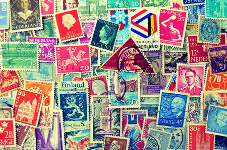 Old post stamps background