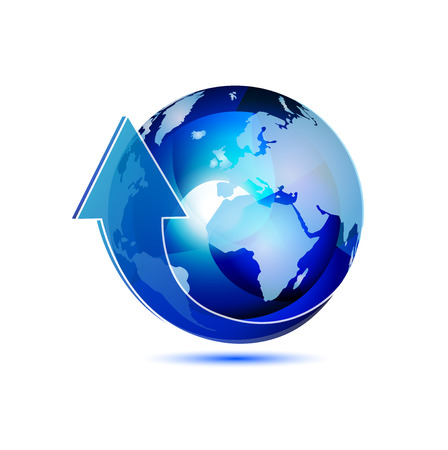 southern: Blue translucent globe with arrow vector