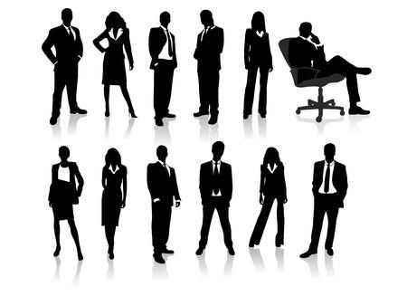 business model: Business mensen silhouetten Stock Illustratie