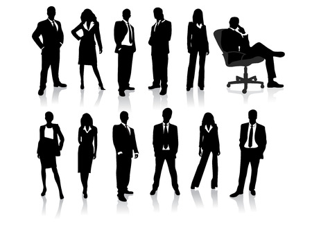 charming business lady: business people silhouettes