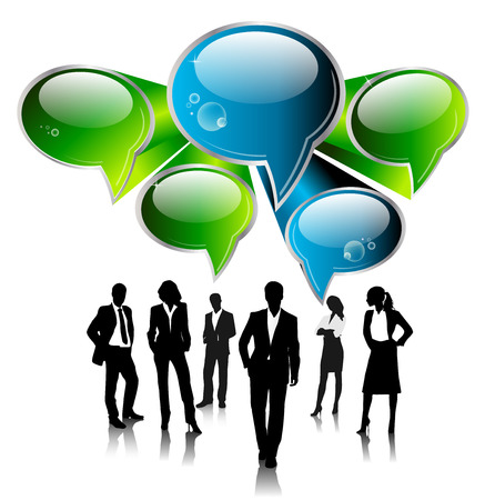 conversing: business people team with speech bubbles vector Illustration