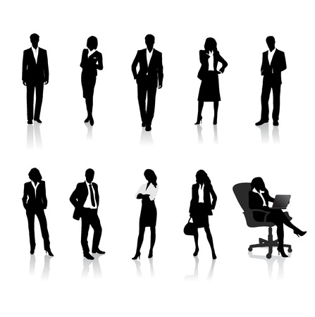 young woman sitting: business people silhouettes