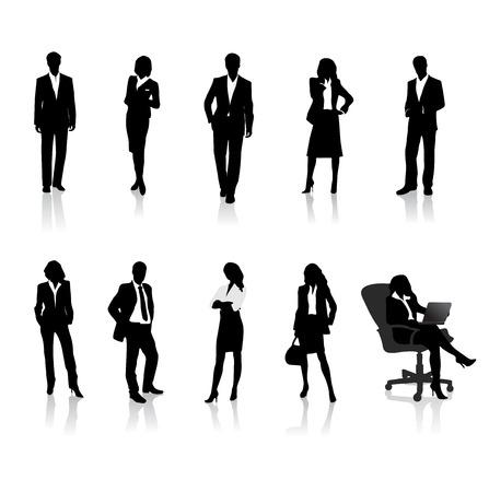 mujer con maleta: personas siluetas de negocios Vectores