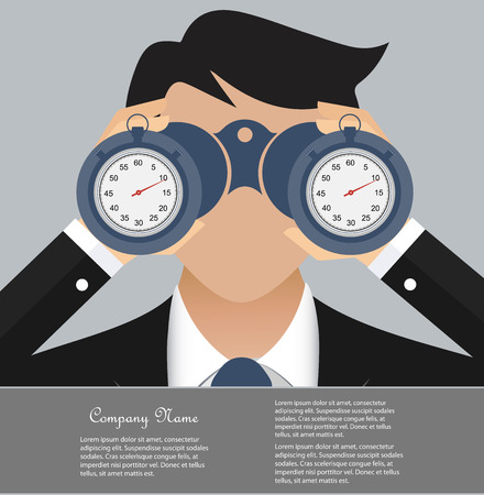 binoculars view: Time is money business concept Illustration