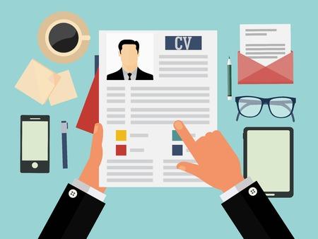 recurso: Conceito entrevista de emprego com cv negócio currículo Ilustração