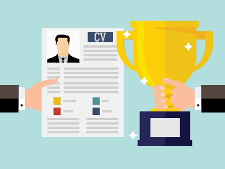 Competitive business concept with business cv resume  イラスト・ベクター素材
