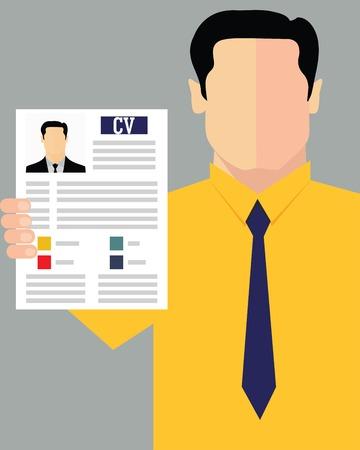 Job recruitment concept with business cv resume Illustration