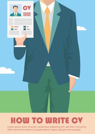 Job recruitment concept met zakelijke cv cv Stock Illustratie