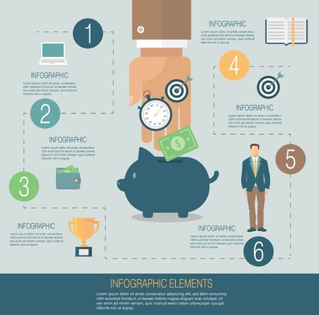 Infographic template, money concept Ilustrace