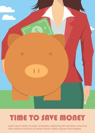 banco dinero: Empresaria celebraci�n hucha, concepto de dinero Vectores