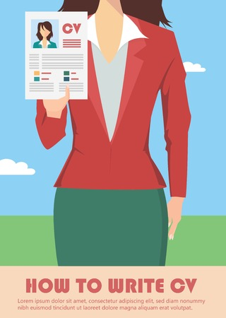 job recruitment: Job recruitment concept with business cv resume Illustration