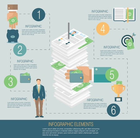 Infografía plantilla, el concepto de dinero