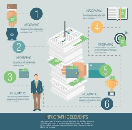 corruption: Infographic template, money concept Illustration