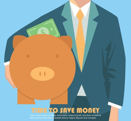 Businessman holding piggy bank, money concept