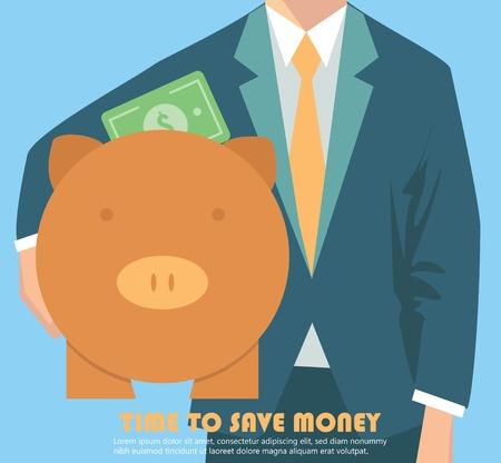 investment concept: Businessman holding piggy bank, money concept