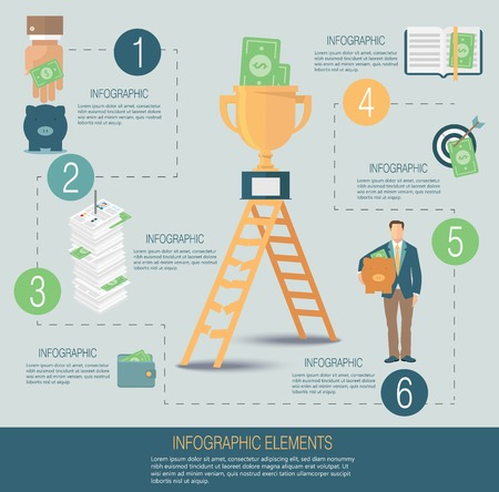 Infographic template, money concept Vectores