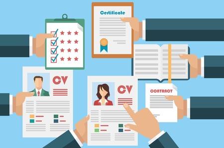 cv: Concepto de trabajo con el curriculum vitae cv negocio
