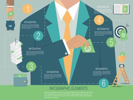 corrupcion: Infografía plantilla, el concepto de dinero Vectores
