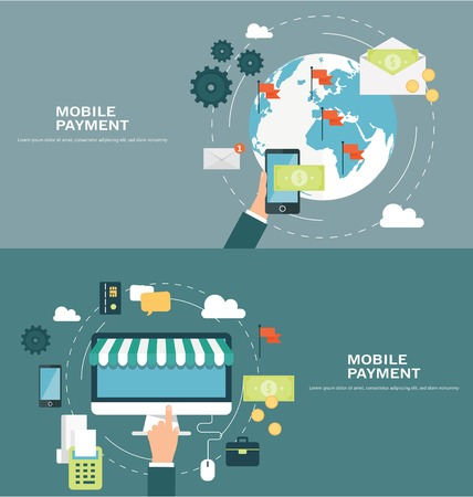 Concepts for web banners and promotions. Flat design concept for mobile payment