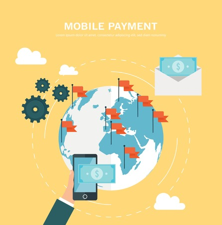 Flat design concept for mobile payment Vector